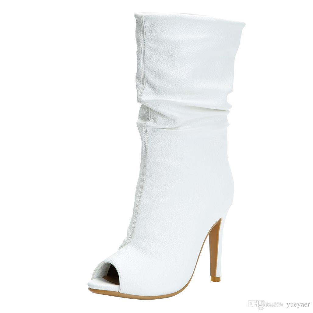Zandina new handmade das mulheres botas de salto alto peep-toe partido baile queda sapatos bfc x-mas moda booty shoes n014