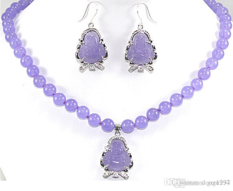 noblest 17 inch 10mm purple Jades necklace + Buddha pendant & earrings set