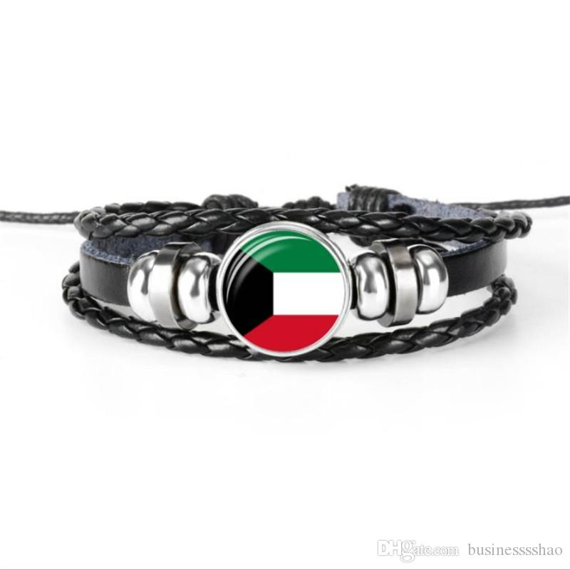 Мода плетеный натуральная кожа веревка бисером браслет для женщин мужчины ювелирные изделия стекло кабошон Кувейт национальный флаг Кубок мира по футболу вентилятор браслет