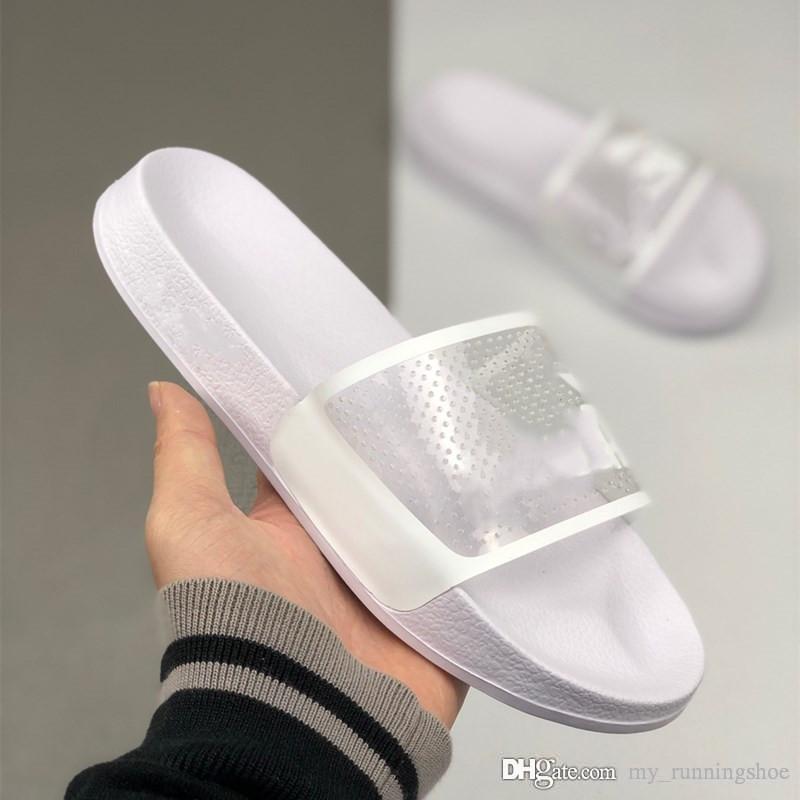 New Men Sandalet Tasarımcı Ayakkabı Lüks Slide Yaz Beyaz Siyah Moda Geniş Düz Kaygan Sandalet Marka Flip Flop ile Kutu Boyutu 35-44