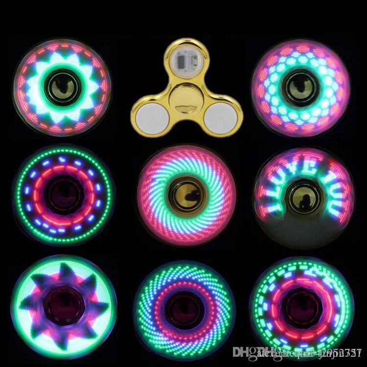 7 cores Fidget Spinner Toy Coolest levou Flash Light arco-íris Spinner crianças brinquedos mudança auto padrão de rápida rotação Brinquedos