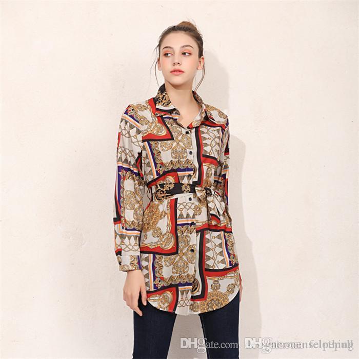 Bowknot Кардиган Женщина Блуза лето Сыпучих кнопки Printed отворот шея рубашка с длинным рукавом женской партия Улица Одежда