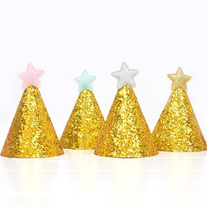 5pcs Ouro brilhante Feliz Aniversário Caps 1ª Festa de Natal do chapéu do aniversário Decor bebê cabelo crianças bonito da festa Acessório Bebê Decoração