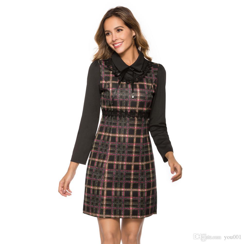 Verkauft Frauenkleidung im Herbst 19. Grenzübergreifende langärmlige, schlanke, geflochtene Hüftrock mit sexy Kleid