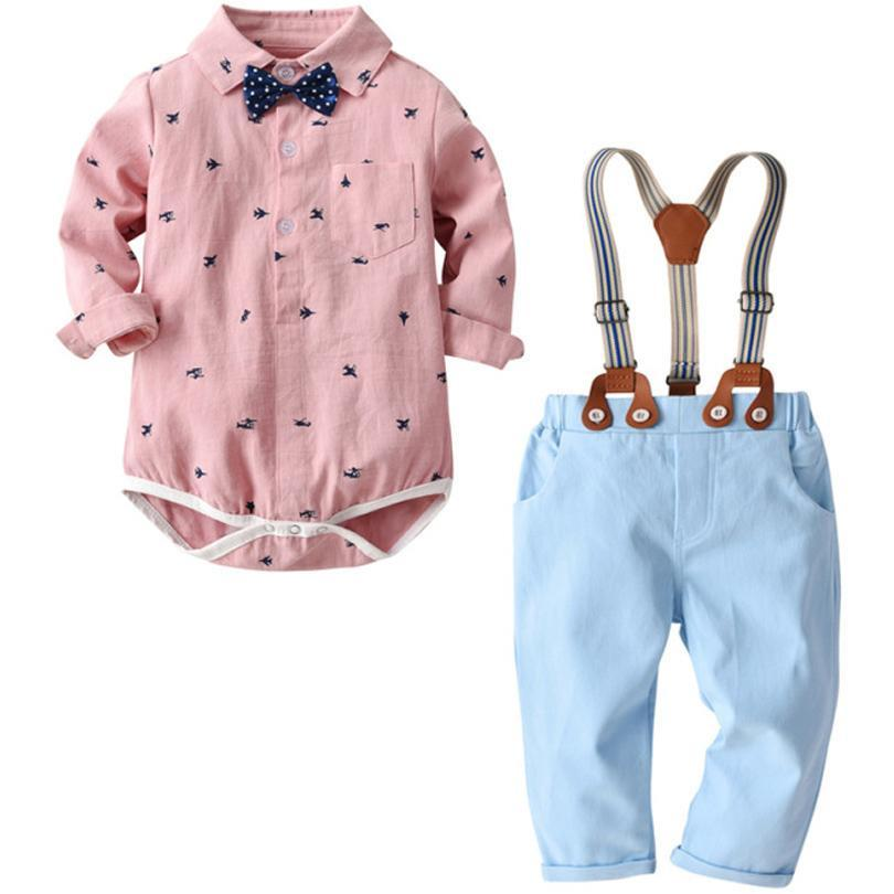 2PCS Toddler Baby Boy Gentleman Tie Long Sleeve Top Strap Jeans Pants Set Outfit