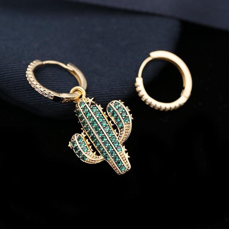 f6d01ead1 ... Asymmetrical Cactus Earrings For Women Bling Cubic Zirconia 18K Gold  Plated Plant Earring Brand Designer Jewelry ...