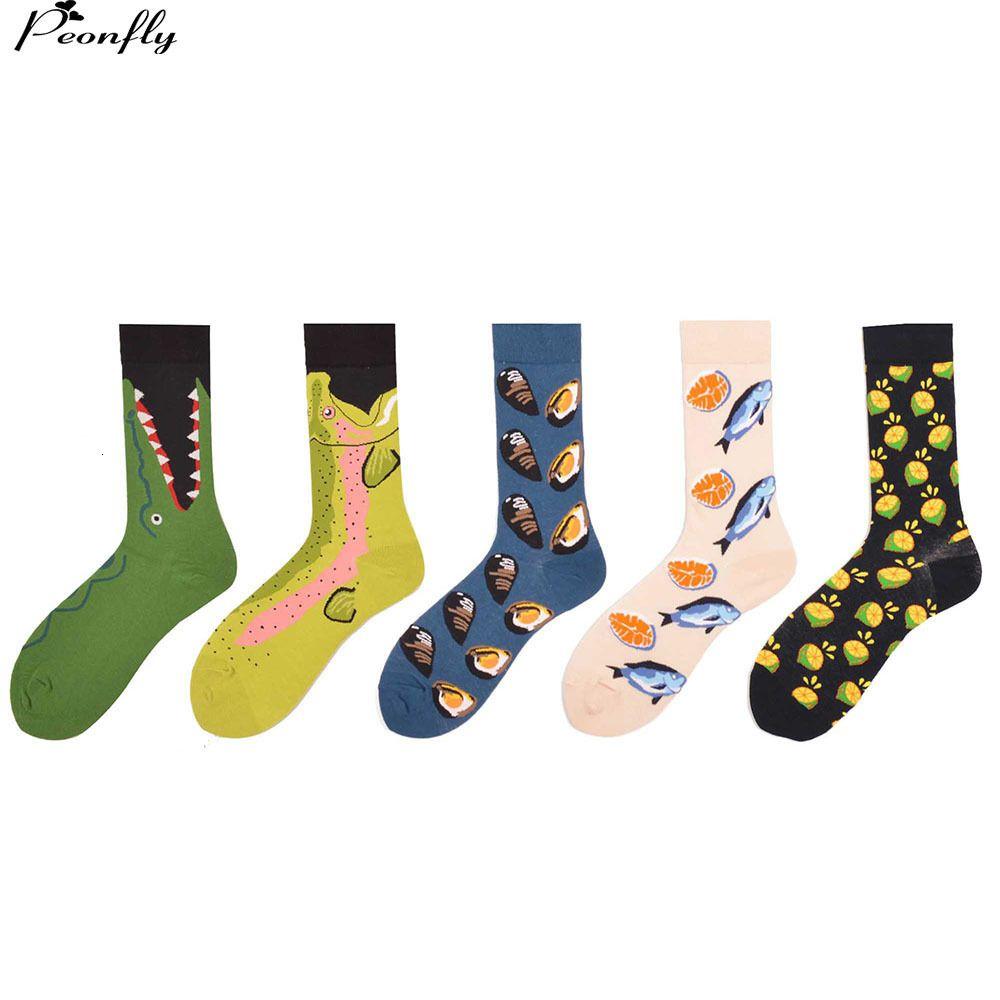 Erkek Yenilik Meyve Komik Çorap Renkli Penye Pamuk Adam balık Rahat Mürettebat Çorap 2 adet = 1 pairs