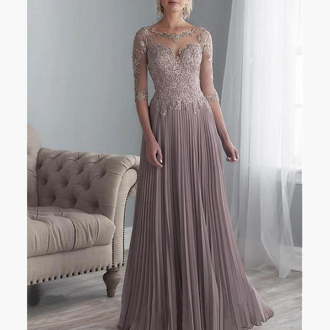 2019 Chiffon Pleated Lace Applique A Line With 1/2 Sleeves Mother Of The Bride Dress Long Vestido De Festa Longo Y19072901