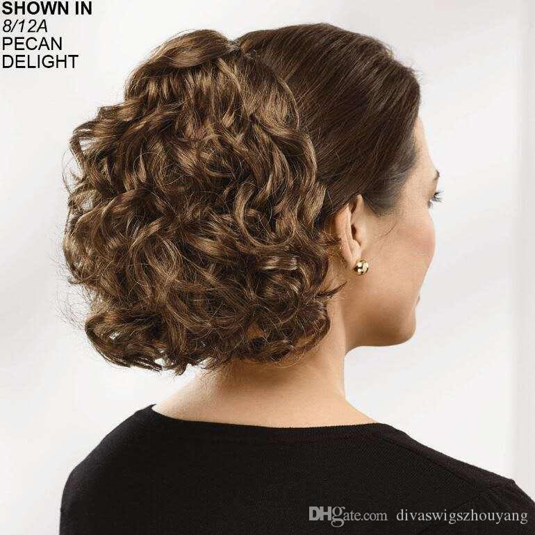 Diva pelo humano cordón cola marrón rizado 10-22 pulgadas corta alta cola de caballo pieza del pelo 120 g colores disponibles