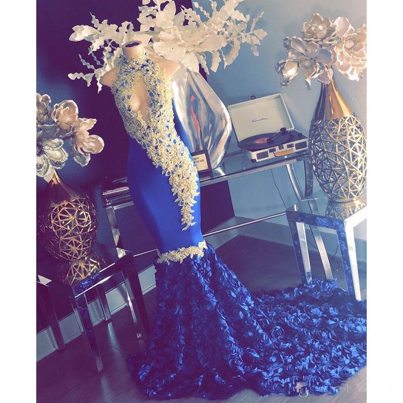 2020 dentelle d'or bleu royal sirène Robes de bal New manches Sweep Strain fleurs col montant Robe de soirée Robes de soirée