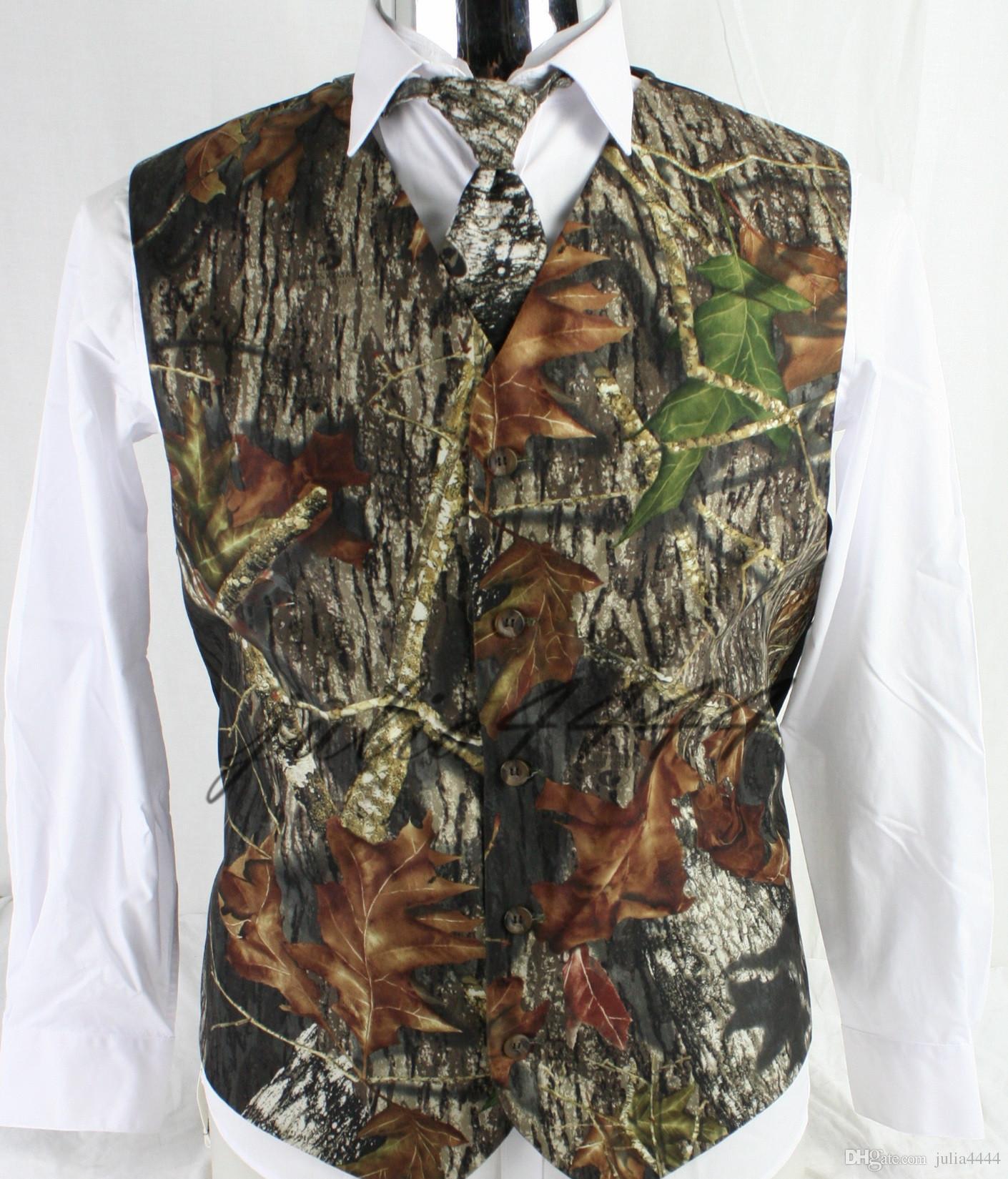 2019 Moda Rustik Tek Göğüslü Düğün için Camo Yelek Erkek Kamuflaj Yeni Varış Airtailors Yelek Artı Boyutu