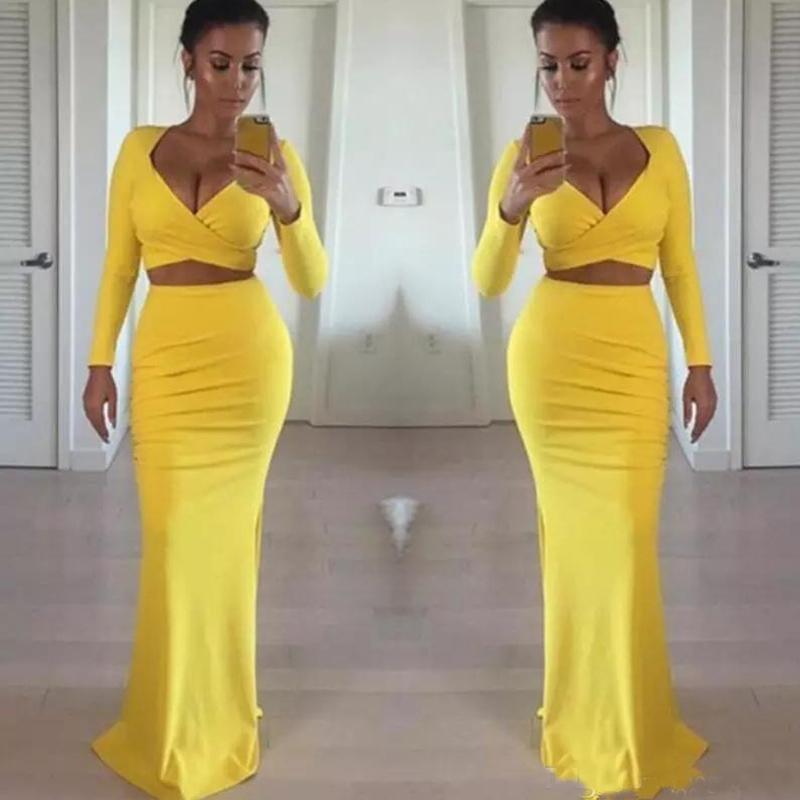 Sexy Afrique noire filles jaune robes de bal à manches longues 2020 Deux Pièces Tight formelle SOIRÉE Robes Robe pas cher