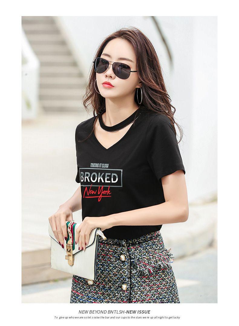 carta de 2020 del verano del nuevo sabor halter hueco con cuello en V de Hong Kong de manga corta de la camiseta de las mujeres de la impresión superior floja