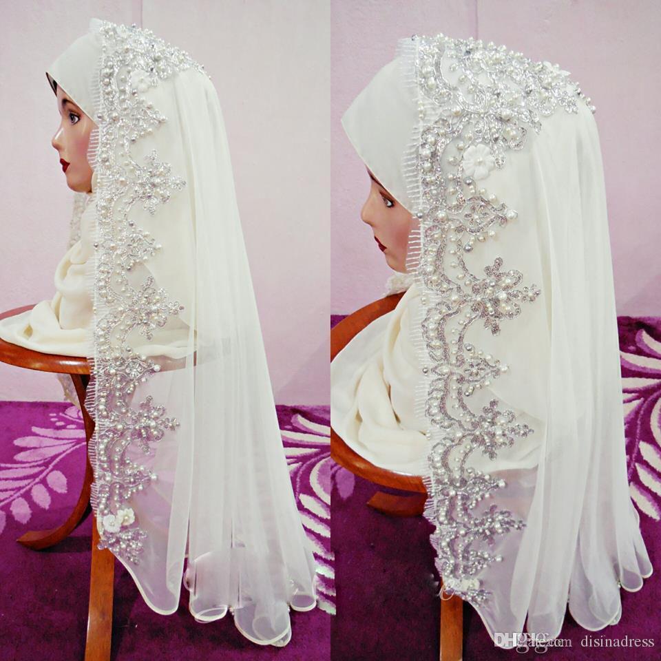 Fabulous Arabic Muslim Bridal Veils Beaded Appliqued Lace Hijab Dubai Saudi Arab Wedding Veil Women Special Occasion Accessories