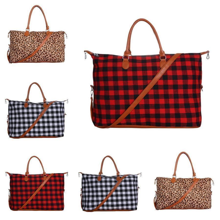 Buffalo Bag Plaid Duffle Bag 22inch Red Plaid Buffalo Weekender Bag Large Capacity Check Canvas Handbag with Strap Party Favor OOA7504