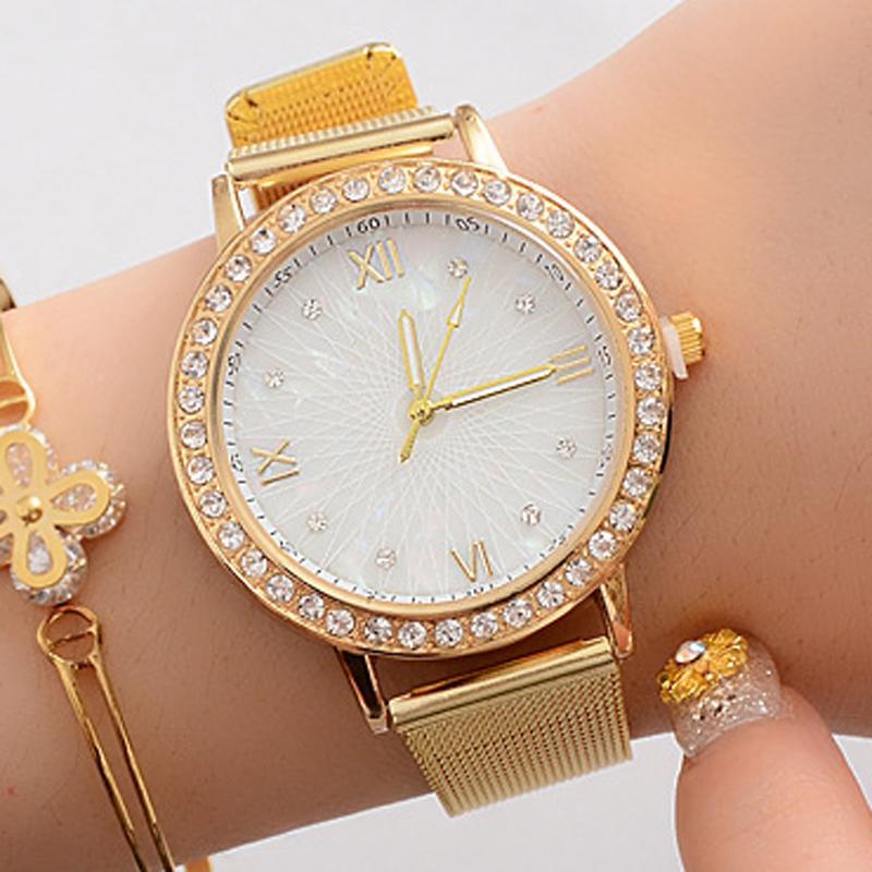 2020 Золото Женские часы Мода Алмазный Геометрическая резки Циферблат кварцевые наручные часы женские часы Uhr Damen