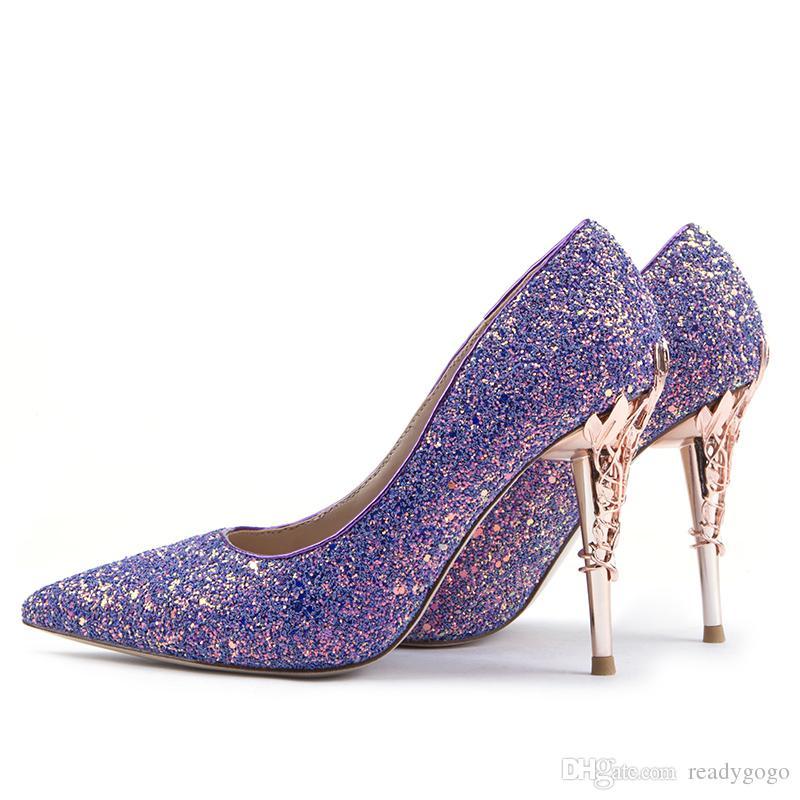 Purple Seailins High Heel Bridal Shoes Shoes 2019 Modest London Fashion Week Eden Heel Sedict Tinte Toe Kid Skin Donne Party Sera Sera Scarpe da ballo