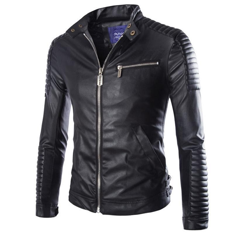 Autumn Winter Luxury Pu Leather Jacket for Men Long Sleeve Motorcycle Jacket Male Stylish Slim Fit Jacket Black White Veste Cuir Homme M-2XL