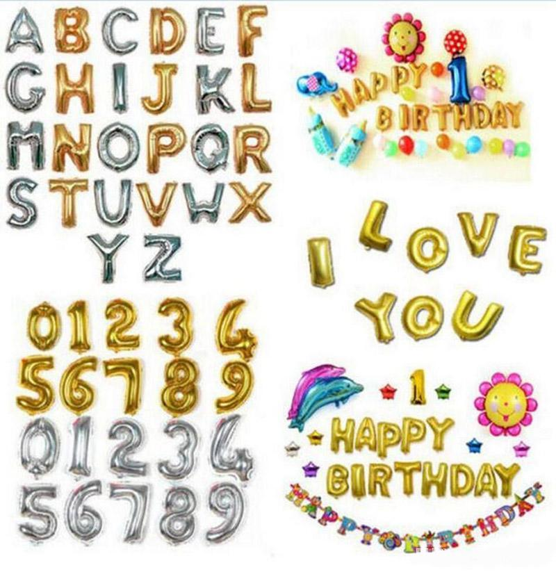 32 Inch Helium Air Balloon Number Letter Shaped Gold Silver Inflatable Ballons Birthday Wedding Decoration Event