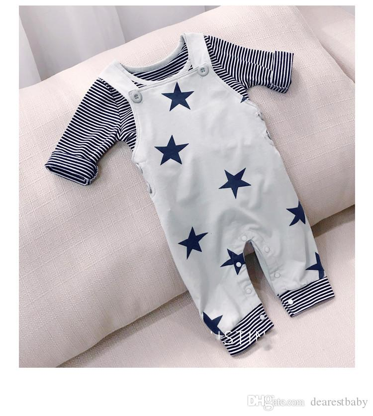 Hot Sale Autumn Winter Children Long Sleeve Shirt & suspender trousers 2 Sets Suit Baby Clothes baby romper