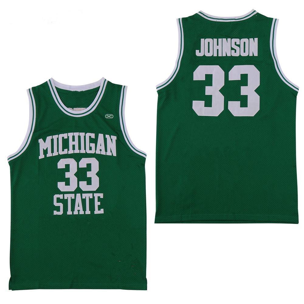 NCAA Michigan State Spartans # 33 Earvin Johnson Magic LA Green Estado de Indiana Sycamore College Larry Bird Baloncesto Jersey camisetas cosidas