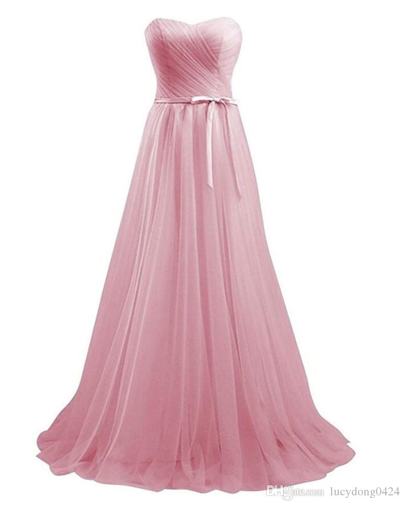 Blush Pink Custom Made Bridesmaids Dresses Simple Style Floor-length Tulle Bridesmaid Dress Wedding Party Gowns