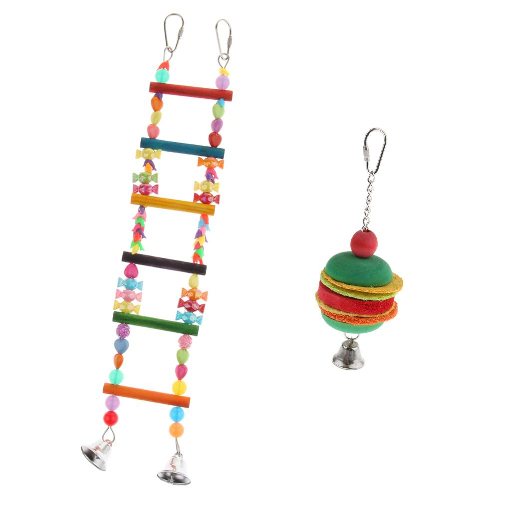 2 Pcs Parrot Climbing Chewing Toys with Bell Colorful Bird Swing Ladder Bells Bird Cage Ornament Entertainment Interactive Accessories