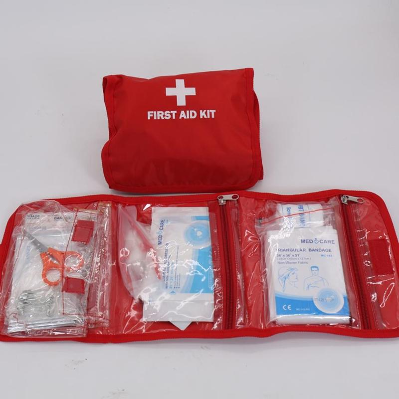Travel Sports Home Medical Bag Outdoor Car Emergency Survival Mini First Aid Kit Bag with CPR Mask Emergency Blanket
