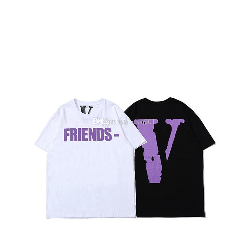 Vlone футболка Мужчины Женщины Высокого Качества 100% Хлопок Хип-Хоп Топ Тис Vlone Friends Vlone Женская Одежда