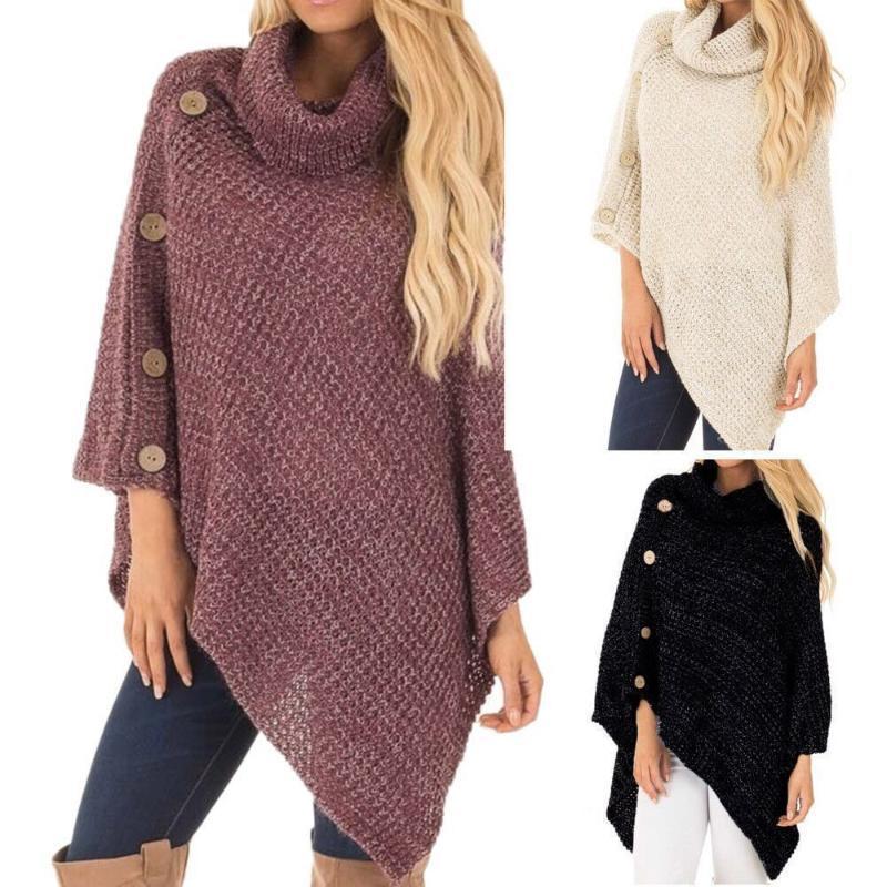 Frauen-Stricken hohe Blei Knopf Unregelmäßige Strickjacke weibliche Frauen Top Pullover Mode Weiblichen Outdoor-Bekleidung Pullover Pullover