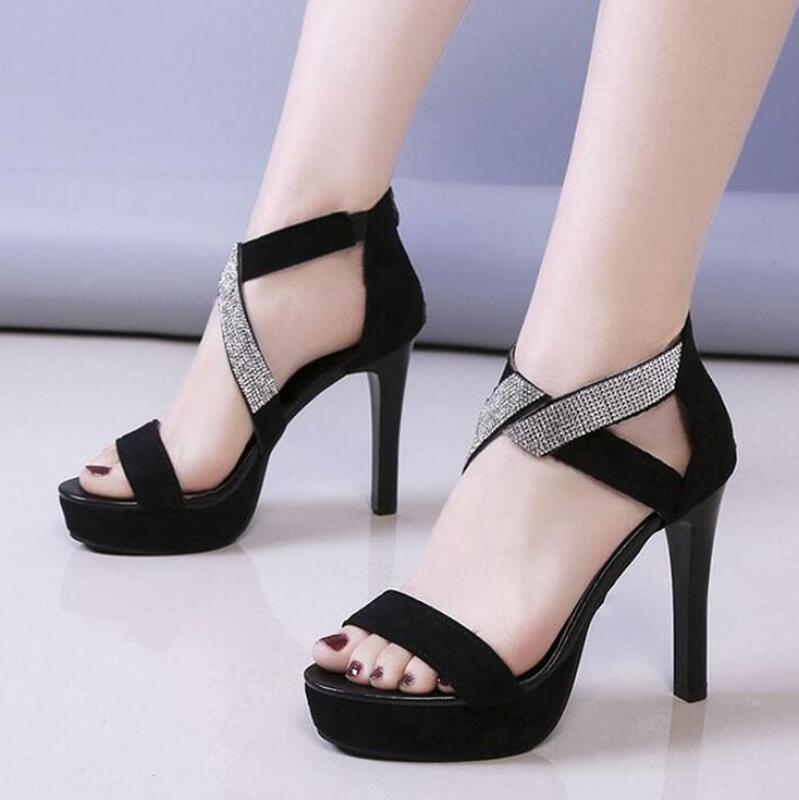 lace up platform sandals black