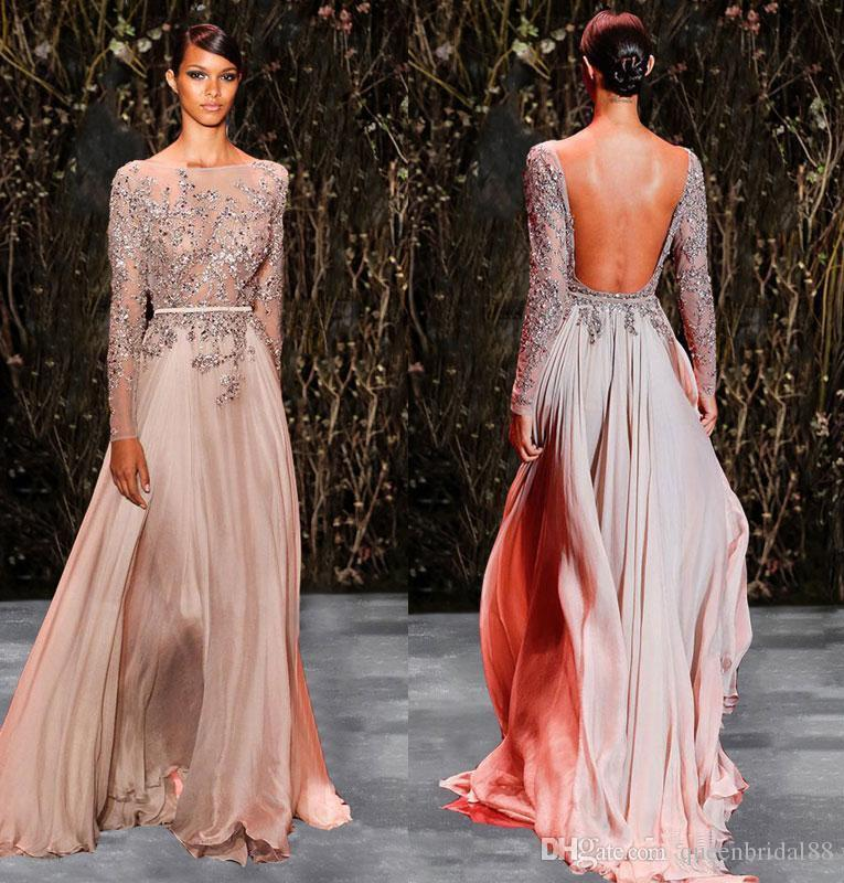 Custom Made Beaded Sequins Sheer Neck Prom Dresses Runway Sexy Open Back Celebrity Party Evening Gowns A Line Dress Bride