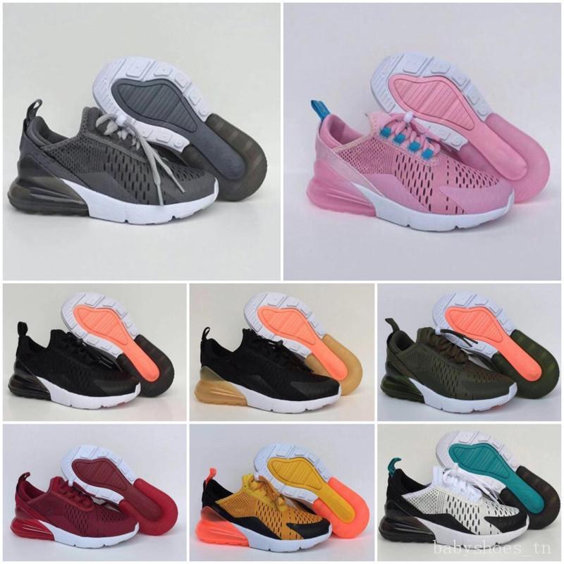 Nike air max 270 2020 de haute qualité pour nourrissons enfants chaussures de course rose blanc Dusty Cactus fille garçon sport de sport en plein air tout-petits enfants chaussures