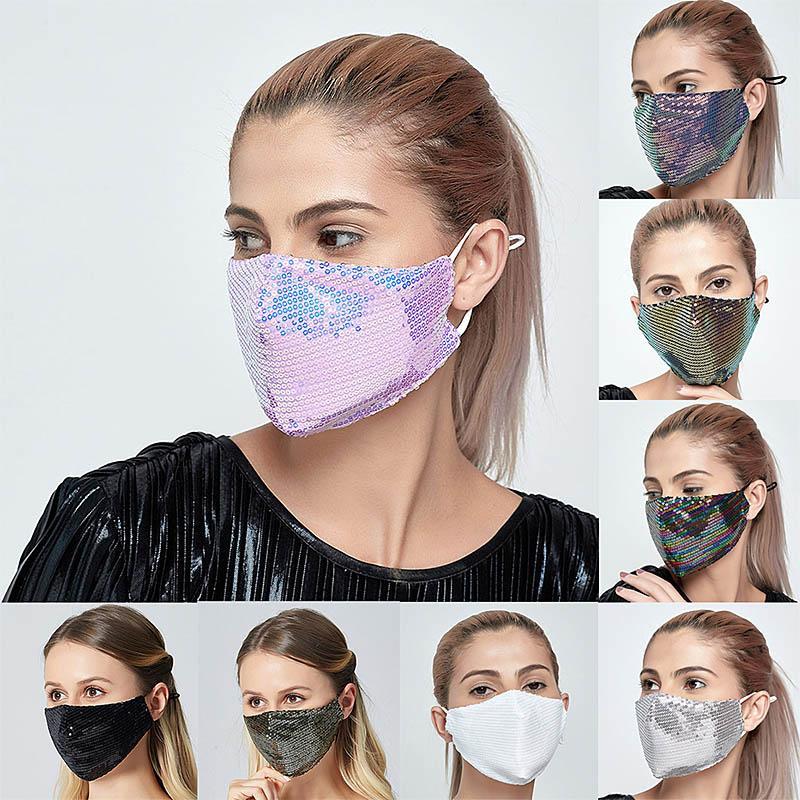 Ücretsiz Kargo Moda Bling Bling Pullu Yüz Maskesi İlkbahar Yaz Açık Güneş Araç Anti-Toz Nefes Yıkanabilir Yüz Maskesi Yeniden Kullanılabilir
