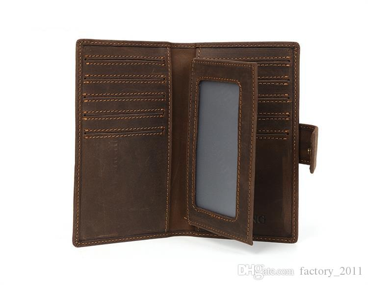 Genuine Leather Bifold Long Wallet Men Card Holder Money Clip Wallet Wholesale Low Price Purse with Free Shipping