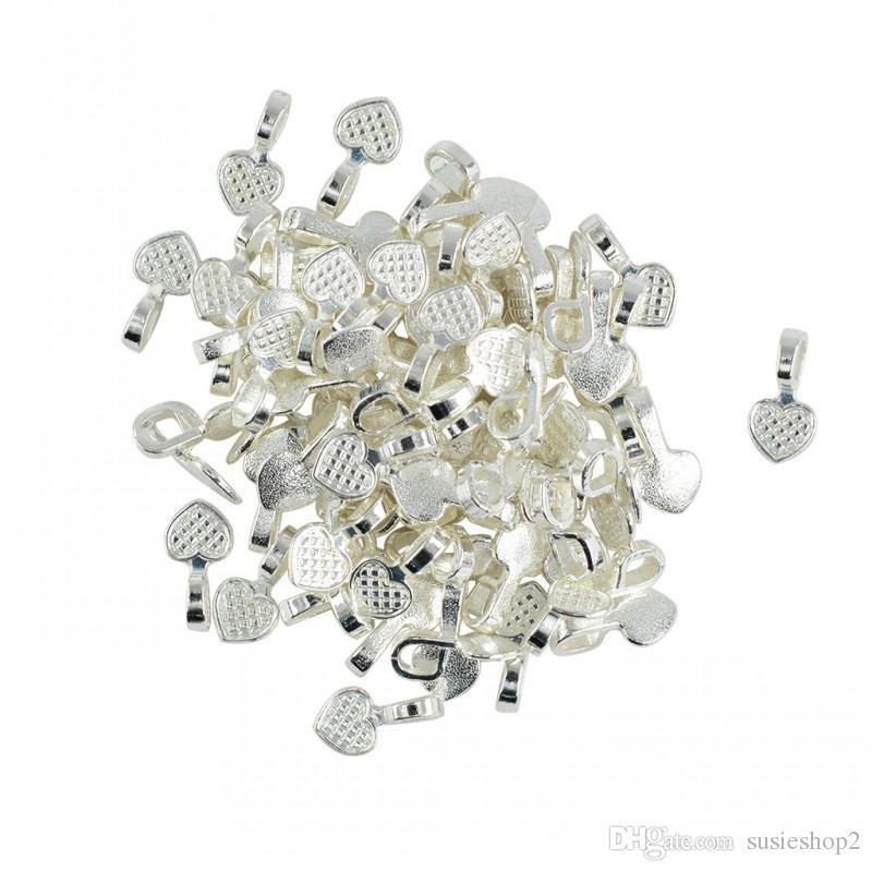 Bulk 500 unids / lote plata blanca en forma de corazón pegamento en fianzas colgante resultados de la joyería Cabochon envío gratis