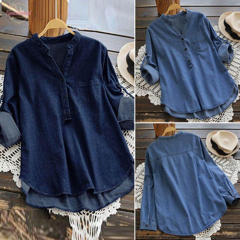 Mujeres ocasionales del dril de algodón blusas y tops asimétrico de manga larga Hem Botones de bolsillo remata la blusa Blusas Chemise Femme