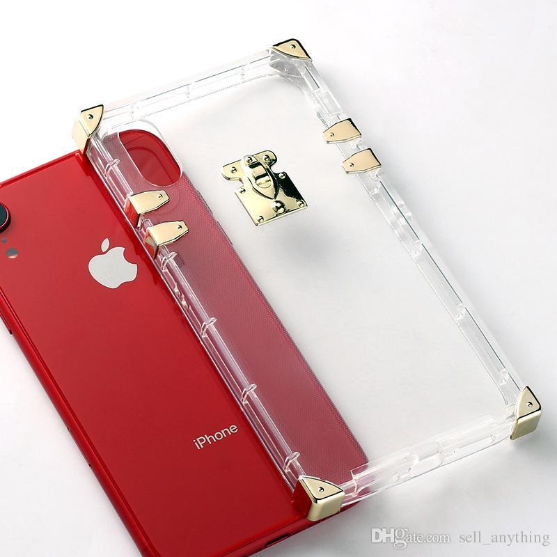 Роскошный Телефон Случаях Золотое Покрытие Площади Для Iphone Xs Max XR Прозрачный Мягкий Чехол Сотового Телефона Для Iphone 6 7 8 X Plus