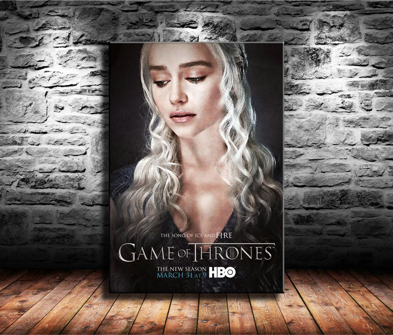 1 Parça Tuval Baskılar Duvar Sanatı Yağlıboya Ev Dekor Thrones, Daenerys Targaryen (Çerçevesiz / Çerçeveli) 24x36.