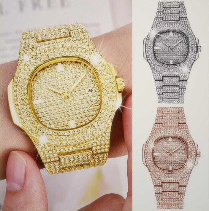 Alta Qualidade de luxo das mulheres dos homens Designer movimento pulseira de aço Esporte Square Automatic Assista luminosos Diamante Relógios de pulso Relógios