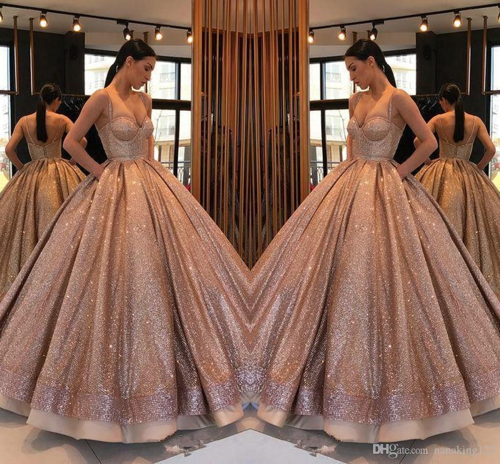 Rose Gold Arabic Champagne Ball Gown Quinceanera Dresses Spaghetti Straps Ruched Backless Sweet 16 Dresses Sequins Formal Dress Party Gowns