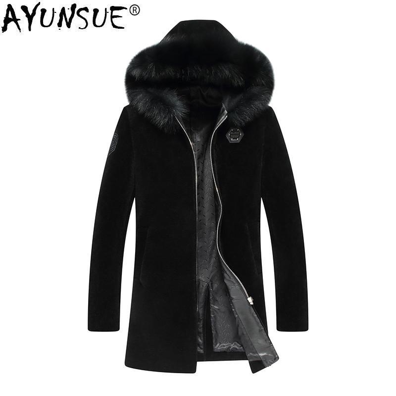 AYUNSUE 100٪ الصوف معطف الشتاء سترة الرجال ريال الأغنام زبدة نباتية معطف فرو رجل فرو طوق طويل الستر زائد الحجم 7061 MY1426