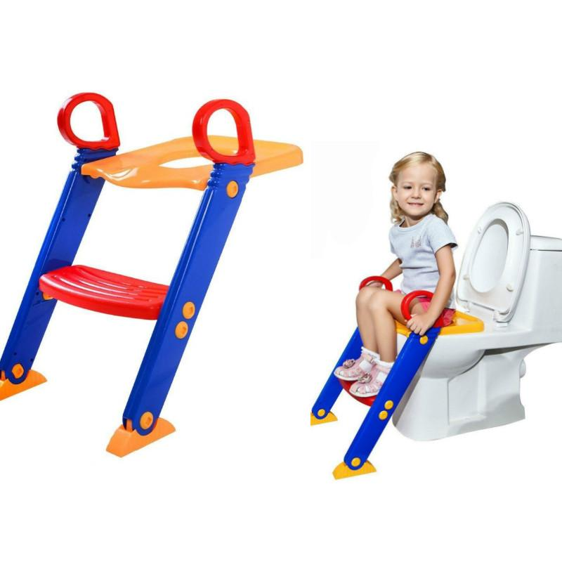 Baby Potty Training Seat Children's Potty Baby Toilet Seat With Adjustable Ladder Infant Toilet Training Folding Seat Step Stool