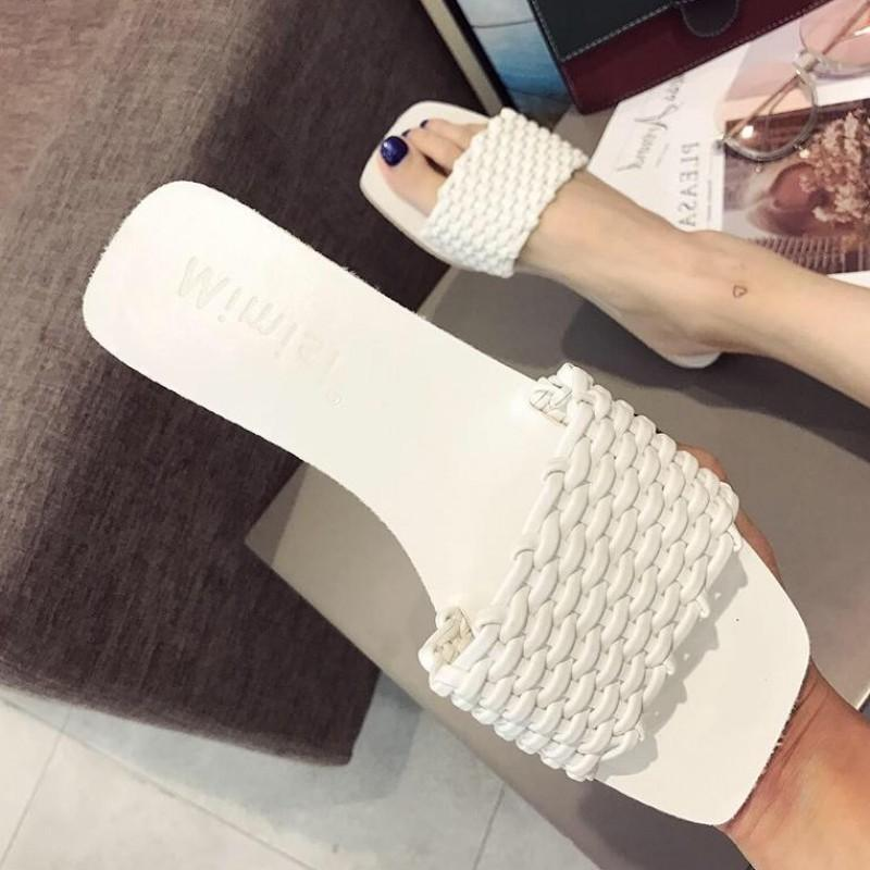 Current2019 Other Slipper Clothes Joker Flat Bottom Lovely Ins Tide Weave Sandals Woman
