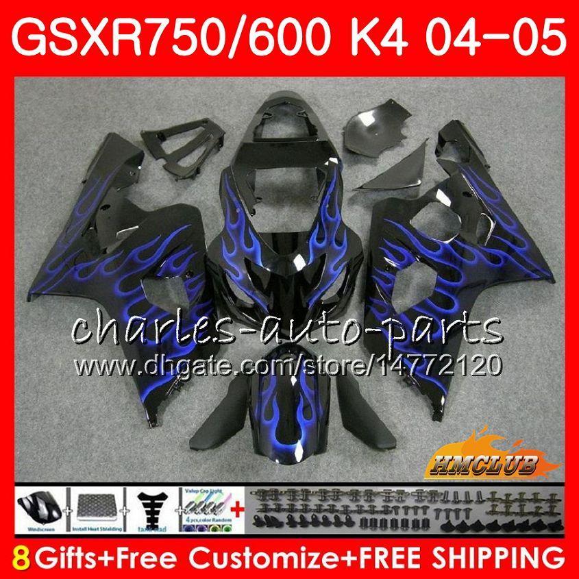 Carrosserie pour SUZUKI GSXR 750 GSX R750 GSXR600 GSXR600 04 05 7HC.66 GSXR750 GSXR 600 04 05 K4 flammes bleu chaud GSXR750 2004 2005 kit Carénage