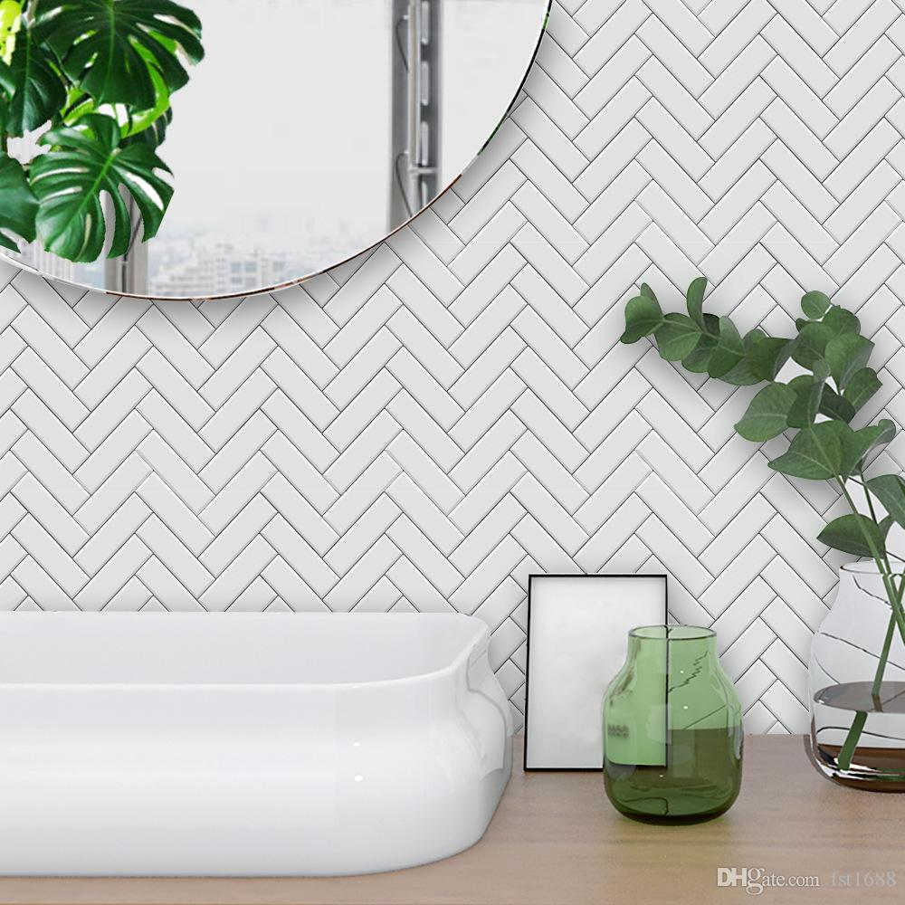 3D View White Chevron Tiles Tile Stickers Waterproof Removable Kitchen Vinyl Decal For Bathroom Dinner Table Living Room Home Decoration