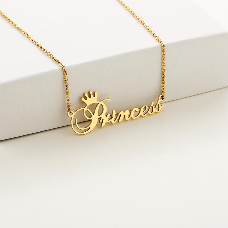 Personalized gold Princess Letter necklace with stainless steel letter pendant jewelry for her daughter's birthday gift