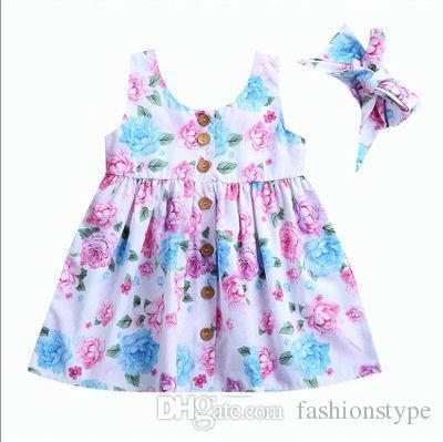 طفل أطفال طفل مصمم فتاة الزهور تانك اللباس مباراة عقال الصيف زر أكمام فستان الشمس الرضع فتاة الملابس