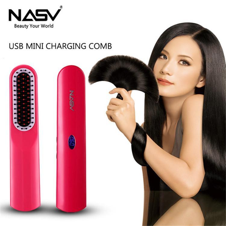 NASV Enderezar los hierros Carga USB Cepillo de pelo recto Peine Recargable Rizador de pelo Herramientas de peinado plancha de pelo inalámbrica DHL