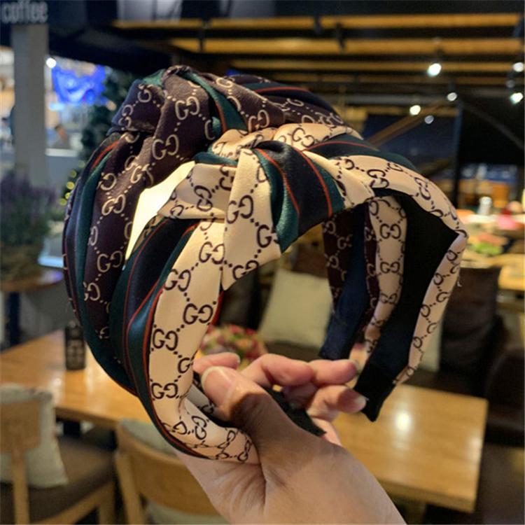 bandeau rayé rouge et vert rétro célébrité web coréenne bandeau large carte cheveux côté soie coutures style western nouées bandeau ZFJ715